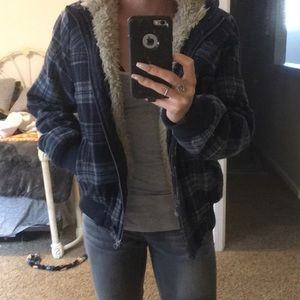 Plaid and fur jacket